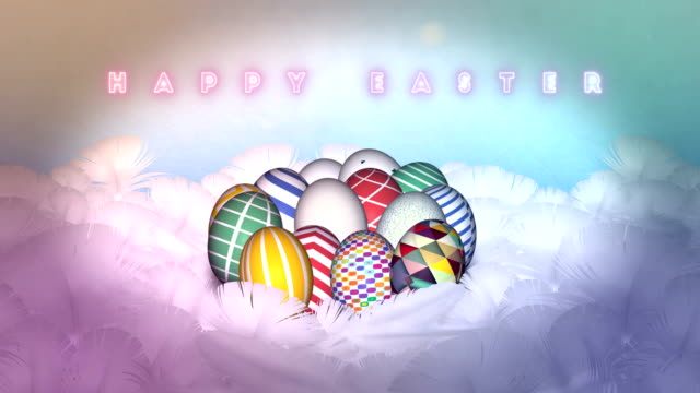 Happy Easter Eggs Celebration in feather nest background