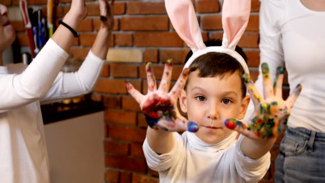 happy easter! we love having fun while preparing for easter - rabbit costume stock videos & royalty-free footage