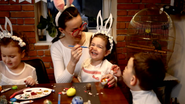 happy easter! we love having fun while preparing for easter - human face drawing stock videos & royalty-free footage