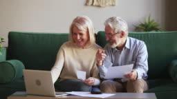 Happy elderly couple manage family budget using online e-banking