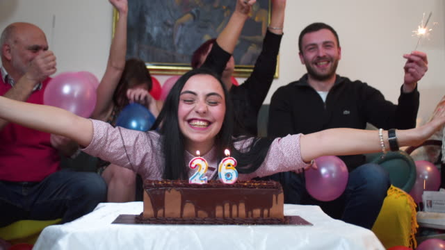 happy family celebrating birthday - birthday cake stock videos & royalty-free footage