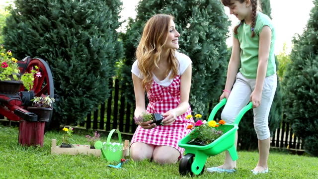 hd: happy family gardening in a backyard together. - wheelbarrow stock videos and b-roll footage