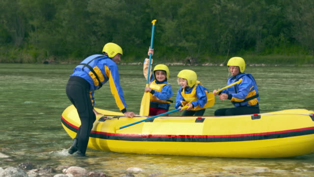 hd: happy family going on a rafting - rafting stock videos and b-roll footage