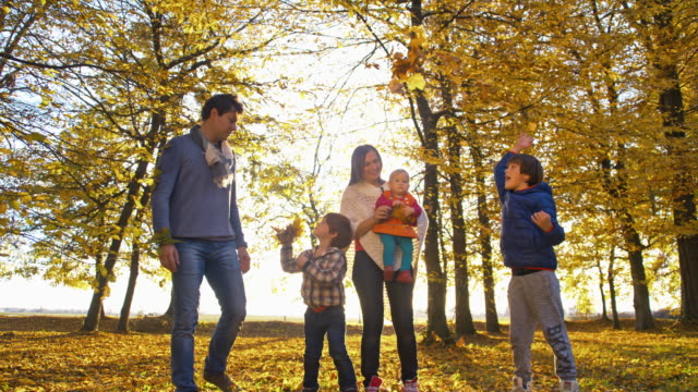 slo mo happy family in autumn park - family with three children stock videos & royalty-free footage