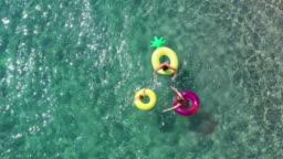 Happy family in the sea