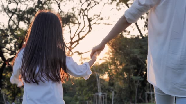 vídeos de stock e filmes b-roll de happy family on nature walks in the summer.woman is spending time with her little charming daughter outdoors during the sunset.relaxed parenting - infância