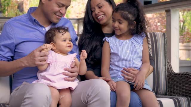 vídeos y material grabado en eventos de stock de happy family outdoors - father day