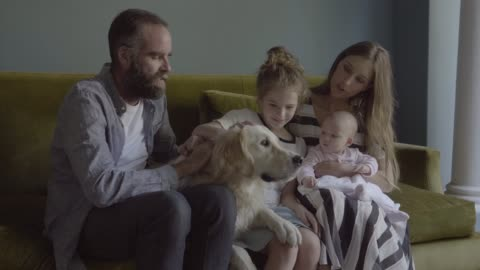 vídeos y material grabado en eventos de stock de happy family with golden retriever on sofa - mascota