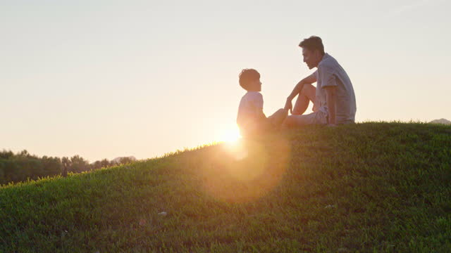 happy father and son sitting on meadow,4k - 向かい合わせ点の映像素材/bロール