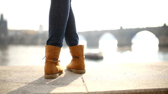 Happy feet by the Charles bridge in Prague,