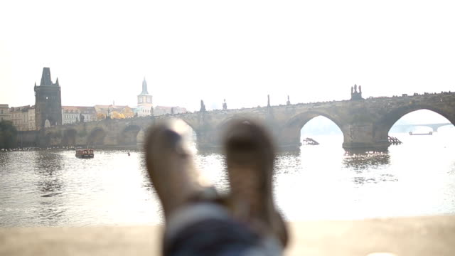 happy feet in prague,by the charles bridge - prague bridge stock videos and b-roll footage