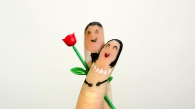 Happy finger couple concept
