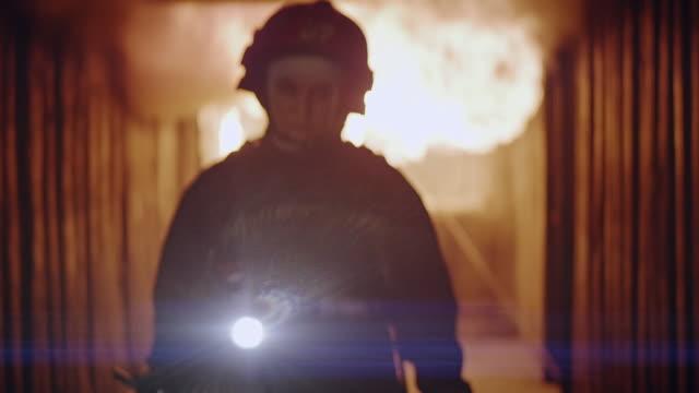 happy firewoman portrait. - firefighter stock videos & royalty-free footage