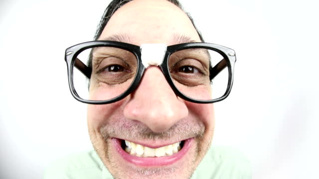 happy fisheye nerd guy - geek stock videos & royalty-free footage