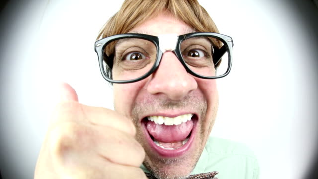 happy fisheye nerd - nerd stock videos & royalty-free footage