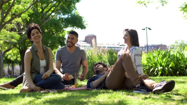 happy friends doing picnic in public park outdoor - formal garden party stock videos & royalty-free footage