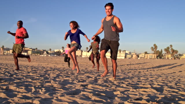 happy friends having fun at venice beach - five people stock videos & royalty-free footage
