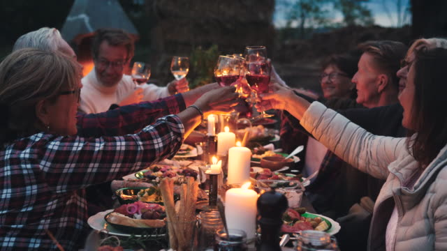 stockvideo's en b-roll-footage met happy friends talking and toasting wineglasses at dining table during harvest dinner party at backyard - avondmaaltijd