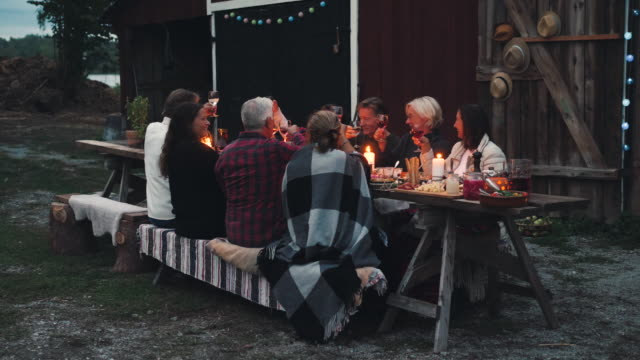 stockvideo's en b-roll-footage met happy friends toasting wineglasses while sitting at dining table during harvest dinner party at backyard - avondmaaltijd