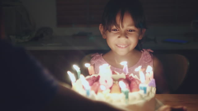 happy girl celebrating her birthday party at home - birthday stock videos & royalty-free footage
