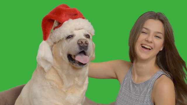 Menina feliz usa um Chapéu do Pai Natal com seu Labrador
