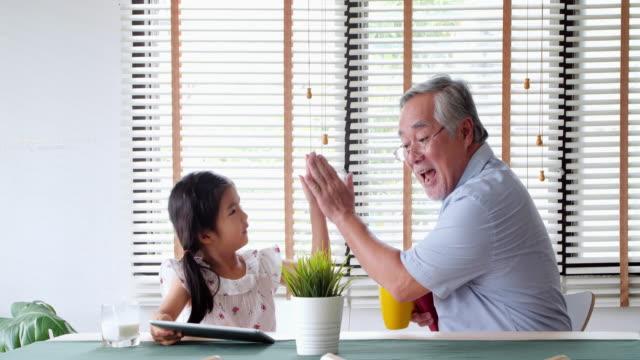 幸せな祖父と孫娘は、孫と楽しい時間を過ごします。子供の人生の日 - アクティブシニア点の映像素材/bロール
