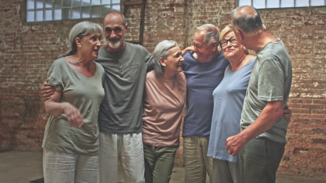 Happy group of active seniors after the Yoga Class