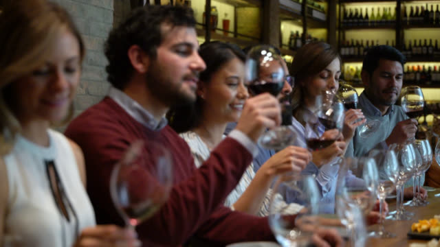 happy group of latin american couple during a wine tasting having fun drinking - party host stock videos & royalty-free footage