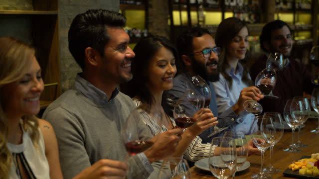 happy group of latin american people tasting wine at a cellar smiling - party host stock videos & royalty-free footage