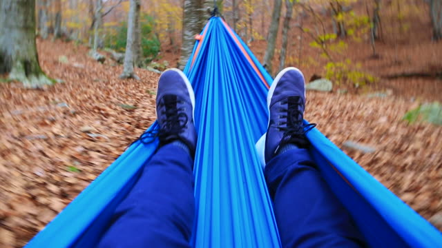 vídeos de stock e filmes b-roll de happy guy enjoying autumn season in a nice forest with colorful leafs during trip in the montseny mountain resting in a hammock swinging between the nature contemplating the beautiful trees in a unique place. - cama de rede
