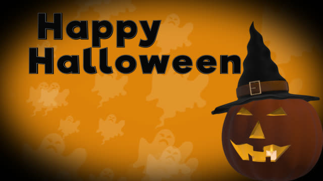 Happy Halloween 4K seamless loop with Jack o' Lantern and cascading background