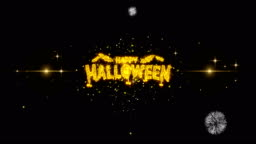 Happy Halloween Golden Text Blinking Particles with Golden Fireworks Display 2