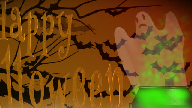 Happy Halloween greeting with ghost and cauldron
