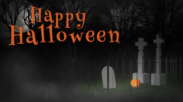 Happy Halloween groet uitzoomen van witch's hat op begraafplaats