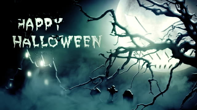 vídeos de stock, filmes e b-roll de feliz dia das bruxas (azul)-loop - castelo