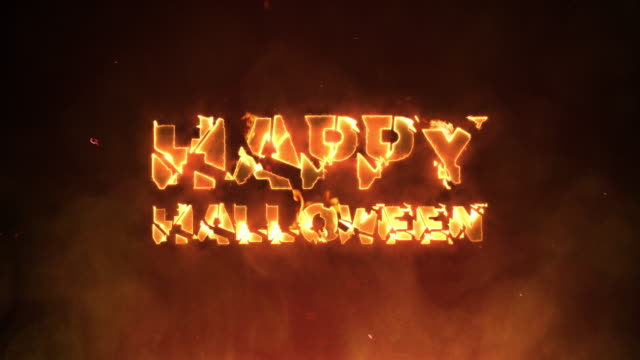 Happy Halloween Text on Fire