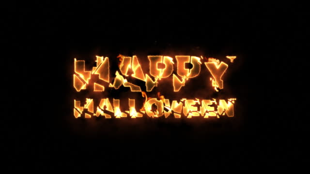 vídeos de stock, filmes e b-roll de feliz dia das bruxas texto em chamas - halloween background