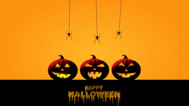 happy halloween with pumpkins, bats and spiders. 4k animation. - banner sign stock videos & royalty-free footage