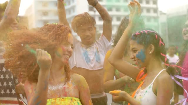 happy holi color festival - body paint stock videos & royalty-free footage