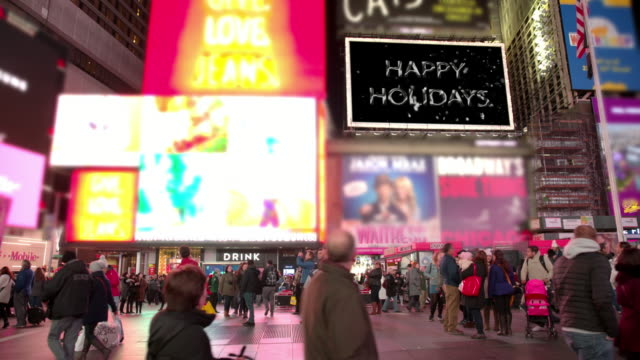 happy holidays billboards new year new york times square people - happy holidays stock videos & royalty-free footage