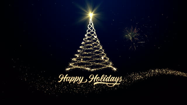 happy holidays christmas tree background with fireworks - greeting card stock videos & royalty-free footage