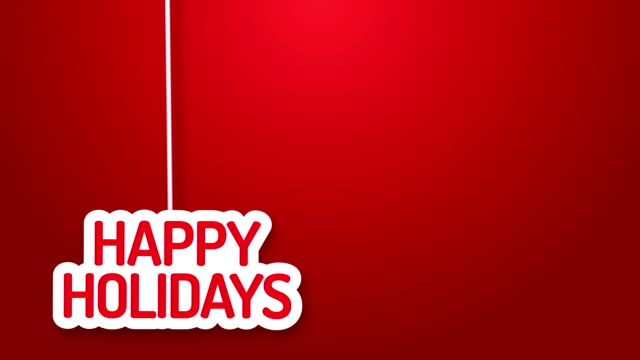 stockvideo's en b-roll-footage met happy holidays hanging on a wire - tekst