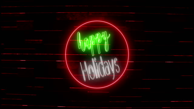 4k happy holidays neon sign on brick wall |loopable - bar background stock videos & royalty-free footage