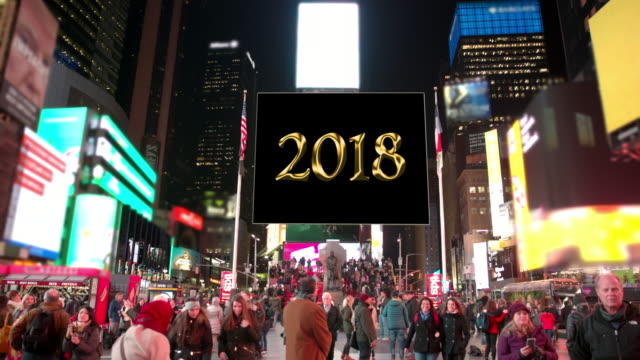 happy holidays new year billboards new york times square people - happy holidays stock videos & royalty-free footage