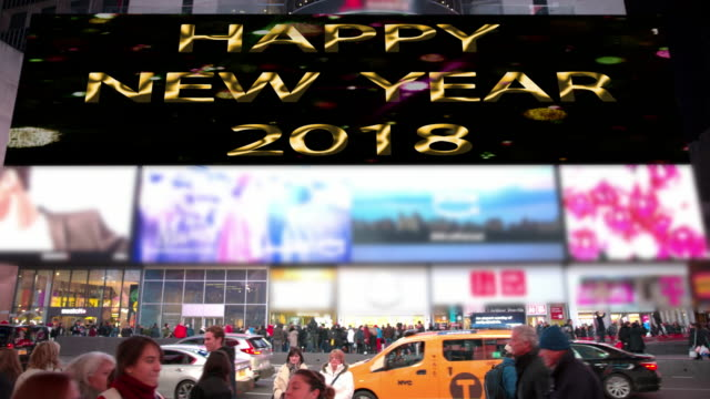 happy holidays new year count down new york times square - happy holidays stock videos & royalty-free footage