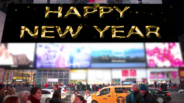 happy holidays new year new york count down times square - happy holidays stock videos & royalty-free footage