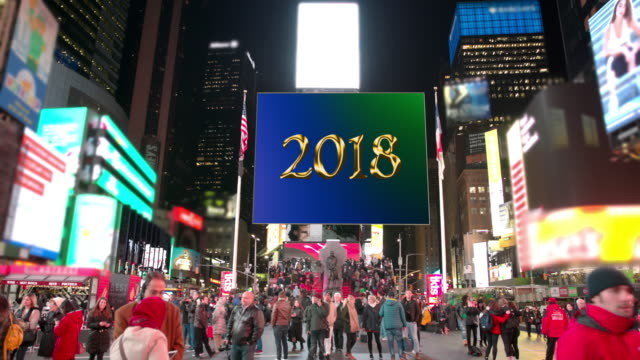 happy holidays new year new york times square 2018 billboards - happy holidays stock videos & royalty-free footage