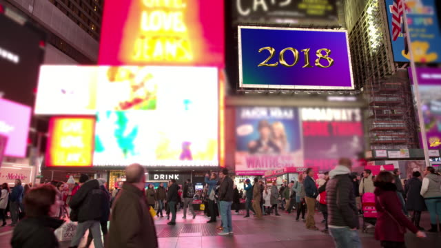 happy holidays new year new york times square billboards 2018 - happy holidays stock videos & royalty-free footage