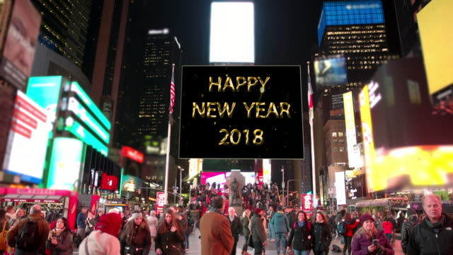 happy holidays new year new york times square billboards people - happy holidays stock videos & royalty-free footage
