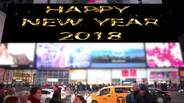 happy holidays new year new york times square count down - happy holidays stock videos & royalty-free footage
